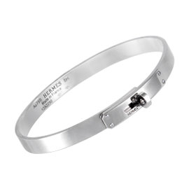 Hermès 18K White Gold Bangle Kelly Bracelet
