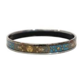 Hermes Blue Based Cloisonne Enamel Bangle Bracelet