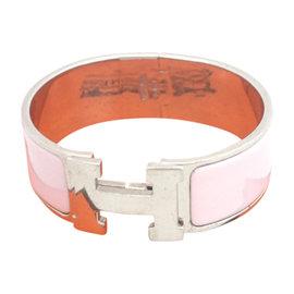 Hermes Silver Tone Metal Pink Enamel Bangle