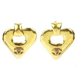 Chanel Gold Tone Metal CC Heart Clip On Earrings