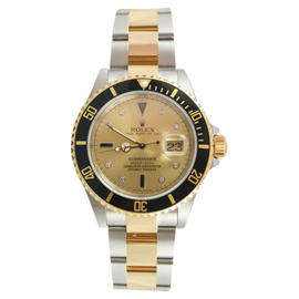 Rolex Submariner 16613 Stainless Steel and 18K Gold with Original Champagne Serti Diamond and Sapphire Dial Watch
