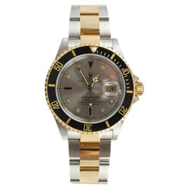 Rolex Submariner 16613 Stainless Steel and 18K Gold with Factory Original Slate Serti Diamond and Sapphire Dial Watch