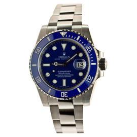 Rolex Submariner Date 116619 White Gold Blue Face and Blue Cerachrom Bezel Watch