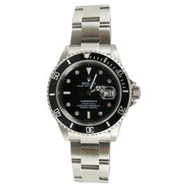 Rolex Submariner 16610 Stainless Steel with Custom Added Set Eight Diamond Hour Markers Watch