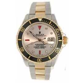 Rolex Submariner 16613 Stainless Steel & 18K Yellow Gold Custom Added Slate Serti Ruby & Diamond Dial Watch