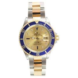 Rolex Submariner 16613 Stainless Steel and 18K Gold Blue Insert with Factory Original Champagne Serti Diamond and Sapphire Dial - 2005 Watch