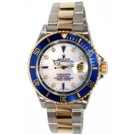 Rolex Submariner 16613 Stainless Steel and 18K Gold, Custom Added Mother of Pearl Diamond & Sapphire Dial Watch