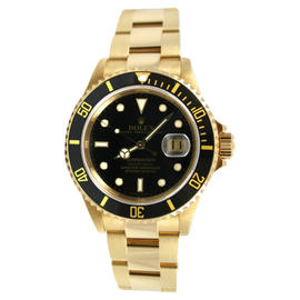 Rolex Submariner 16618 18K Yellow Gold Black Dial and Bezel 2004+ No Holes Case Model Watch