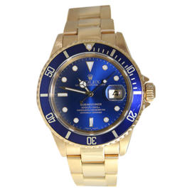 Rolex Submariner 16618 18K Yellow Gold Blue Dial and Bezel 2005 Model Watch