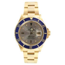 Rolex Submariner 16618 18K Yellow Gold Original Slate Serti Dial and Blue Bezel 2007 Model Watch