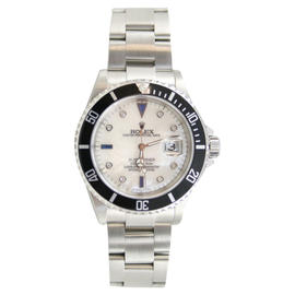 Rolex Submariner Date 16610 Stainless Steel, Custom Added Mother of Pearl Diamond & Sapphire Dial Watch
