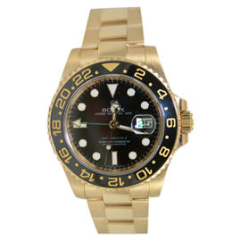 Rolex GMT Master II 116718 Ceramic Bezel Black Dial in 18K Yellow Gold Watch