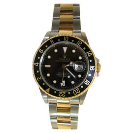 Rolex GMT Master II 16713 Steel and 18K Yellow Gold Oyster Band Model Black Face and Bezel Watch