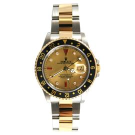Rolex GMT Master II Steel and Gold Model 16713 Custom Champagne Diamond & Ruby Face Watch