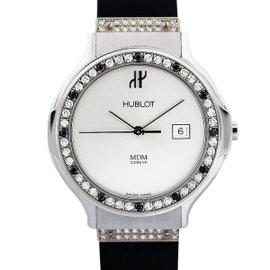 Hublot MDM Black and White Diamond Bezel Stainless Steel Womens Watch