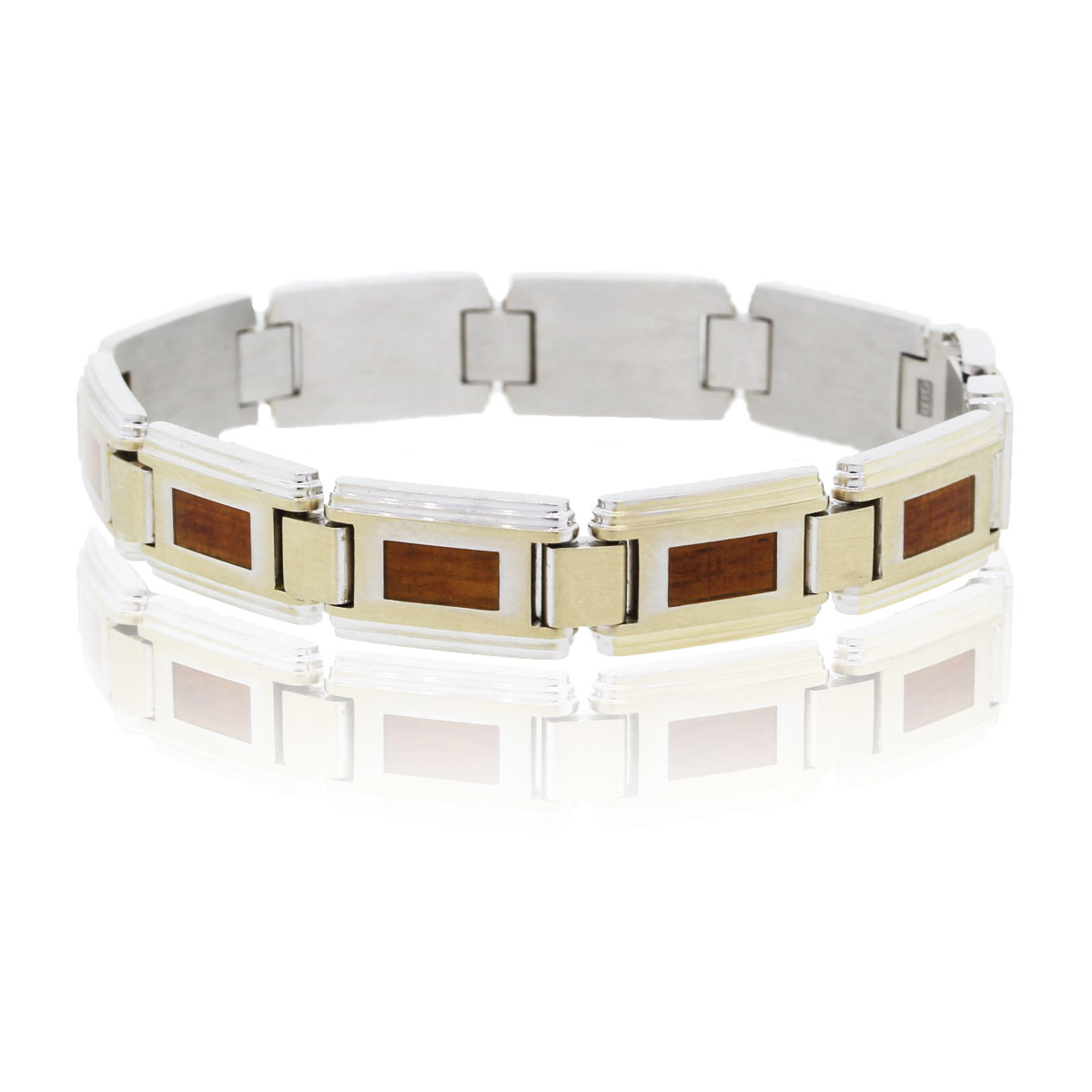 "Image of ""IBGoodman 18K White Gold Wood Inlay Bracelet"""