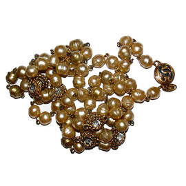 Chanel Faux Gold Baroque Pearl Sautoir Flapper Necklace