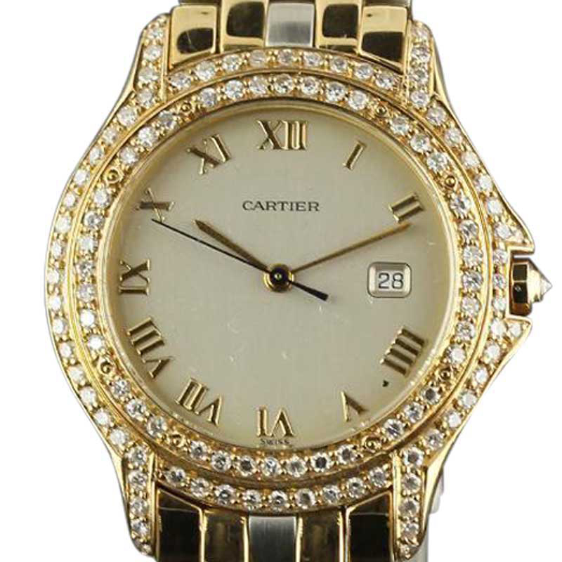 """""Cartier Panthere Cougar Yellow Gold Steel Diamond 32mm Watch"""""" 271277"