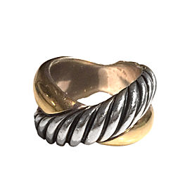 David Yurman 18K Yellow Gold and Sterling Silver Ring Size 10