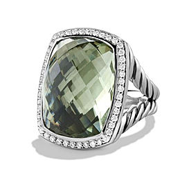 David Yurman Sterling Silver Prasiolite & Diamonds Ring