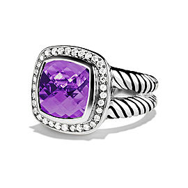 David Yurman Amethyst & 0.22ct Diamond Albion Ring Sz 7