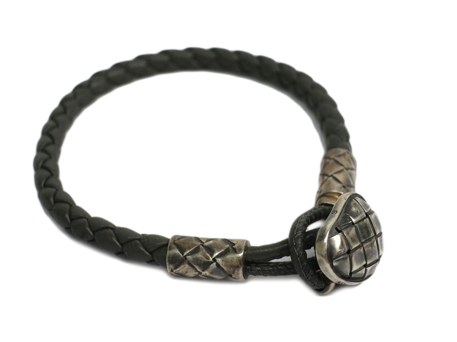 "Image of ""Bottega Veneta Intrecciato 925 Sterling Silver Leather Bracelet"""