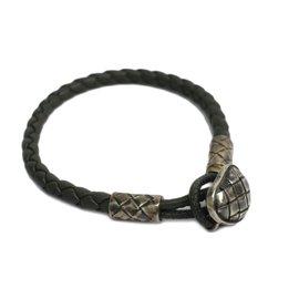 Bottega Veneta Intrecciato 925 Sterling Silver Leather Bracelet
