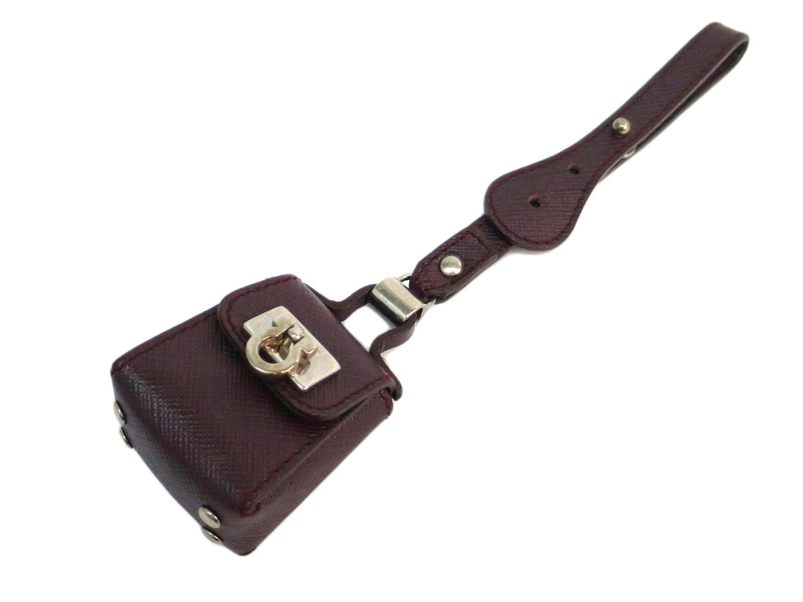 """Image of """"Salvatore Ferragamo Gancini Leather Purple Silver Tone Hardware Charm"""""""