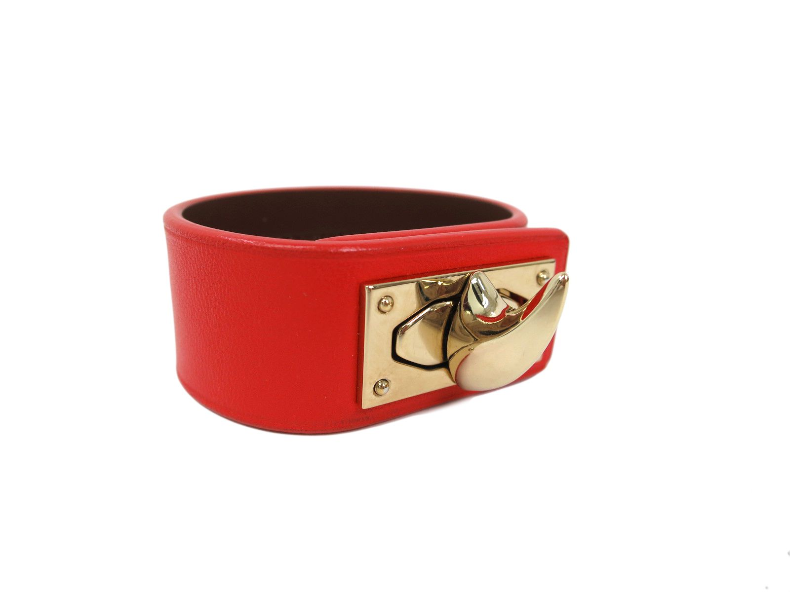 "Image of ""Givenchy Gold Tone Metal Red Leather Bracelet"""
