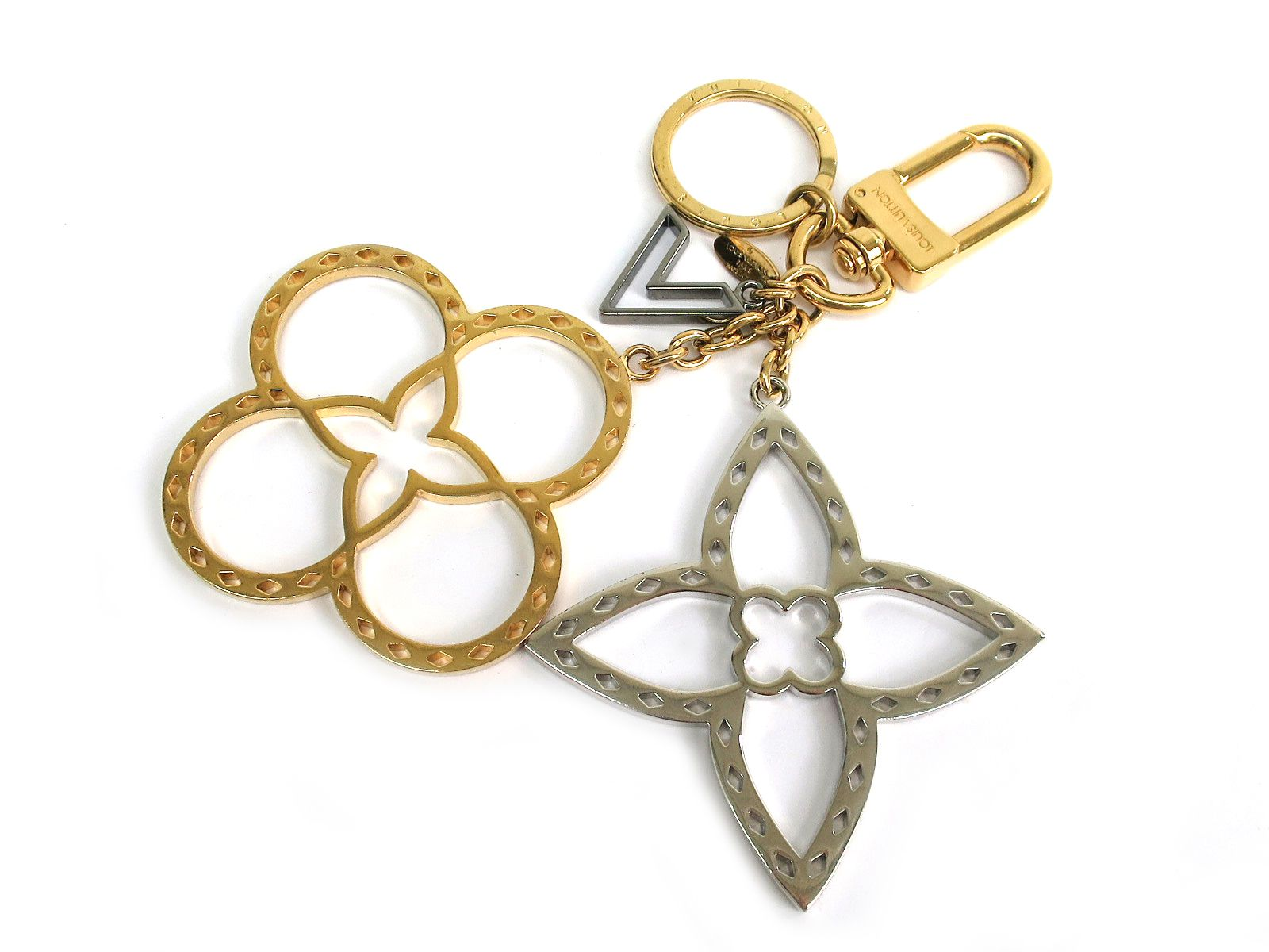 "Image of ""Louis Vuitton Neo Tapage Gold Silver Tone Bag Charm Key Holder"""