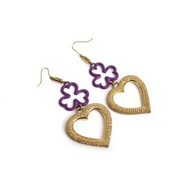 Christian Dior Gold Tone Metal Purple Clover Heart Earrings