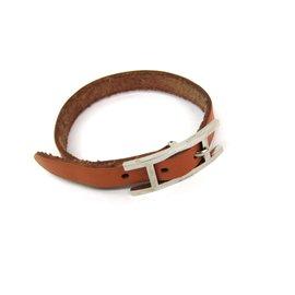 Hermes Hapi III Silver Tone Hardware Leather Bracelet