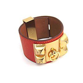 Hermes Collier de Chien Gold Tone Hardware Epsom Leather Bracelet