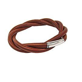Hermes Silver Tone Hardware Tornado Brown Leather Bracelet