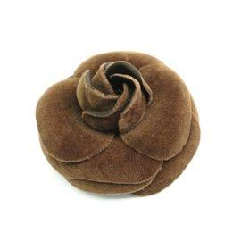 Chanel Camellia Corsage Velor Brown Brooch