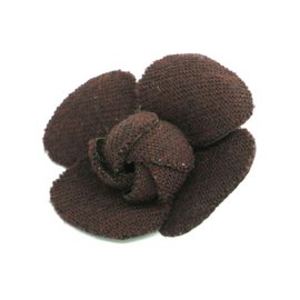 Chanel Camellia Corsage Fabric Brown Brooch