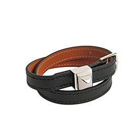 Hermes Medor Double Tour Silver Tone Hardware Black Leather Bracelet