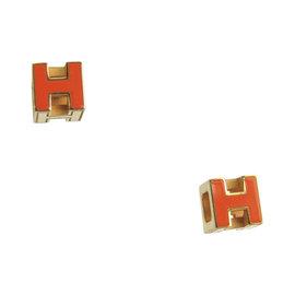 Hermes Gold Tone Hardware H Earrings