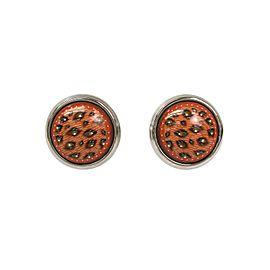 Hermes Palladium Cloisonne Pinkish Beige Enamel Earrings