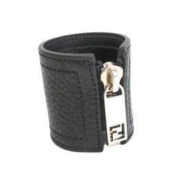 Fendi Black Leather Silver Tone Metal Zip Up Bangle