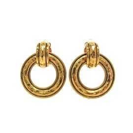 Chanel Gold Tone Hardware Clip Earrings