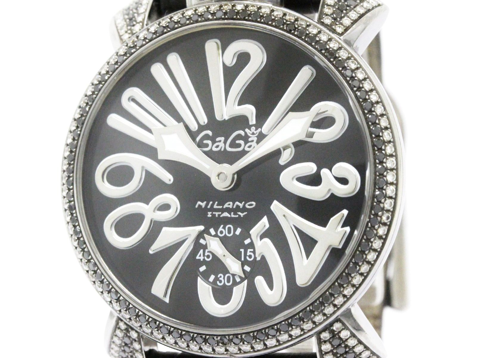 "Image of ""GaGa Milano Stainless Steel & Leather wDiamond Manual 48mm Mens Watch"""
