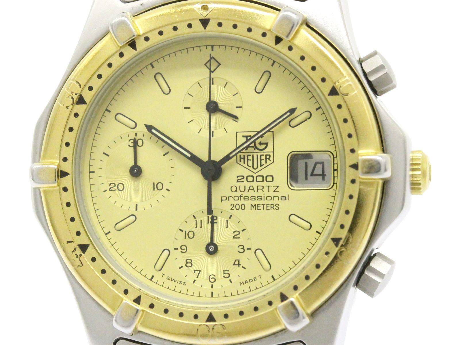 "Image of ""Tag Heuer 2000 264.006 Stainless Steel & Gold Plated 37mm Mens Watch"""