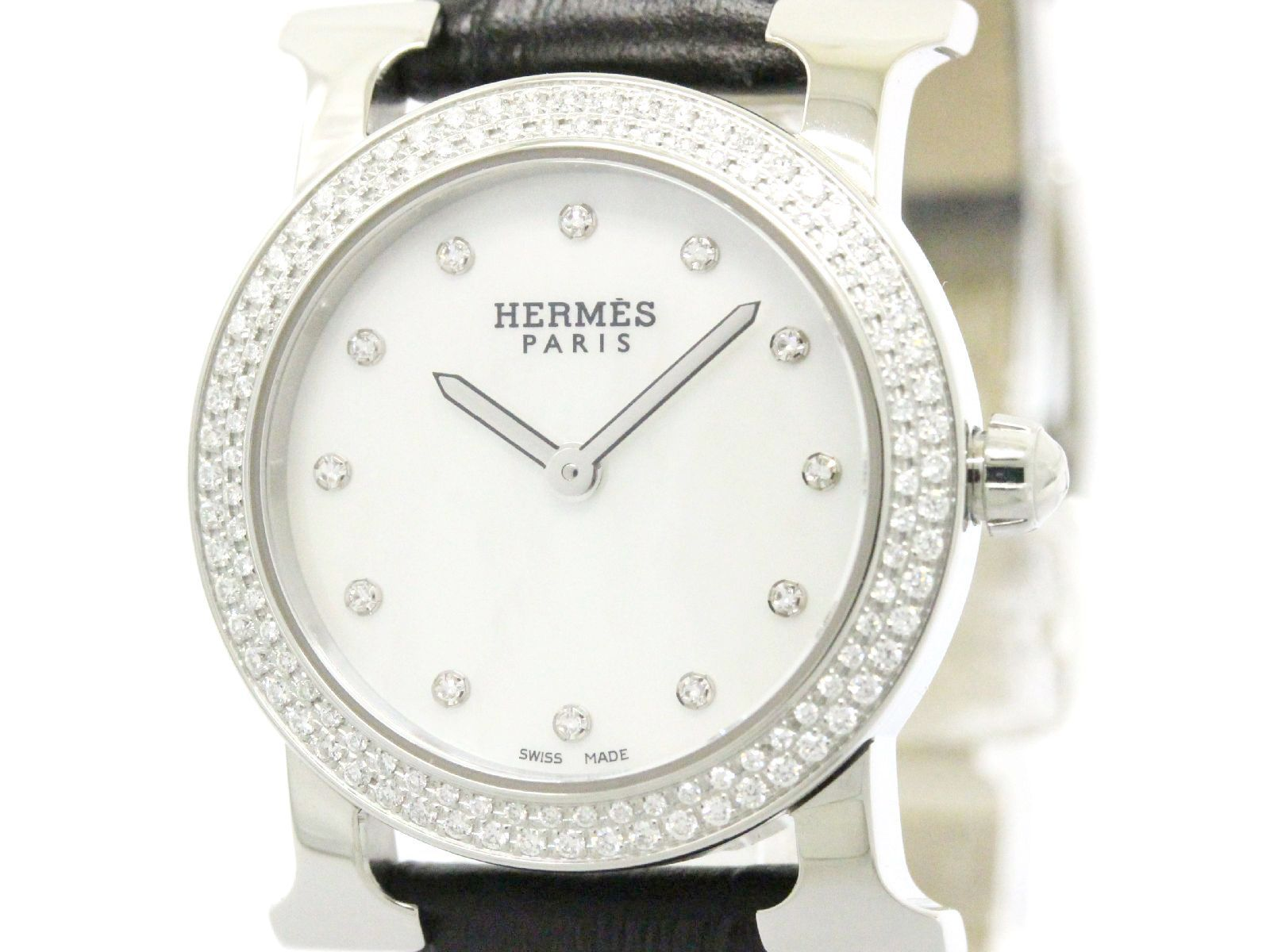 """Image of """"Hermes H Watch Hr1.230 Stainless Steel Quartz 25mm Womens Watch"""""""