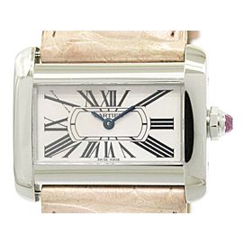 Cartier Mini Tank Divan W6301455 Stainless Steel / Leather Quartz 32mm Womens Watch