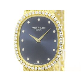Patek Philippe Golden Ellipse 18K Yellow Gold & Diamond 29mm Mens Watch