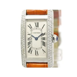 Cartier Tank American W2601956 White Gold Quartz 19mm Womens Watch
