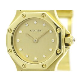 Cartier Santos 18K Yellow Gold Quartz 24mm Womens Watch