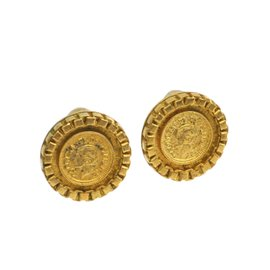 Chanel Mademoiselle Gold Tone Hardware Clip Earrings