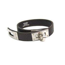 Hermes Kelly Palladium Brown Swift Leather Bracelet